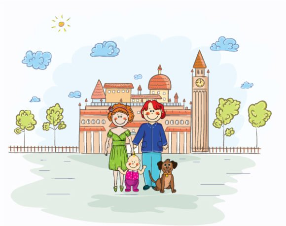 Family, Vector Vector Vector Cartoon Background With Family 1