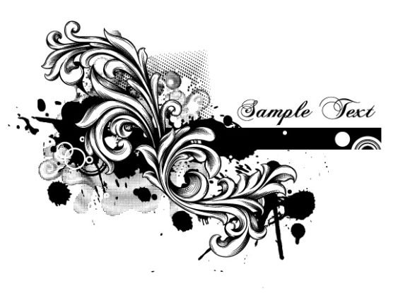 Surprising Vector Vector Background: Grunge Floral Vector Background Illustration 1