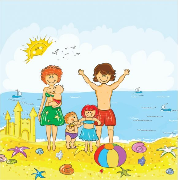Unique Beach Vector Artwork: Family At The Beach Vector Artwork Illustration 1