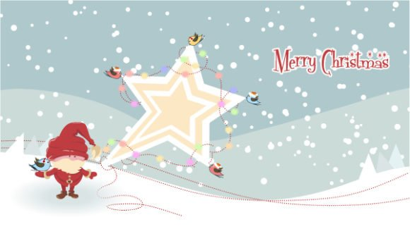 Lovely Vector Vector Artwork: Vector Artwork Santa With Star 1