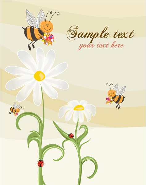 New Vector Vector Art: Bees With Floral Vector Art Illustration 1