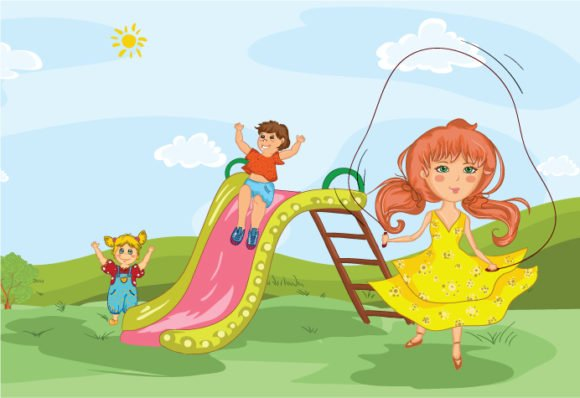 The Vector Background Kids Playing In The Park Vector Illustration 1