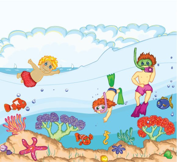 Illustration Vector Kids Swimming Vector Illustration 1