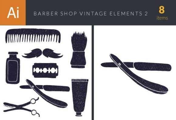 Barber Shop Vintage Vector Set 1
