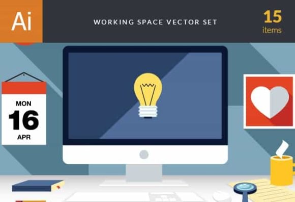 Business Work Space Vector Set 3 1