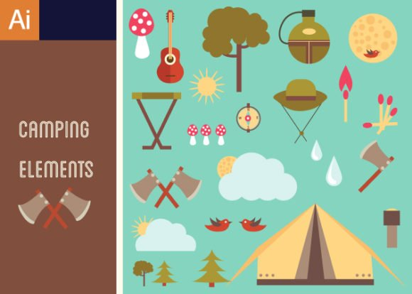 Cute Camping Vector Set 1 1