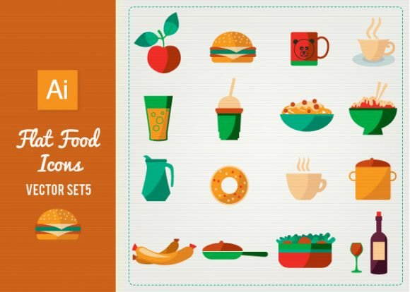 Flat Food Icons Set 5 1