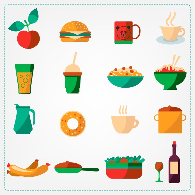 Flat Food Icons Set 5 2