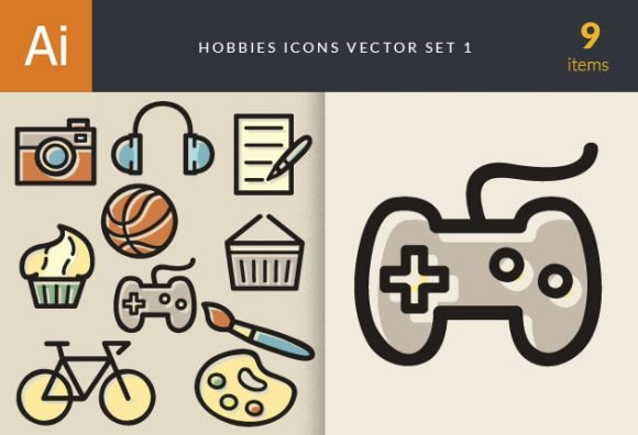 Hobbies Icons Vector Set 1 1