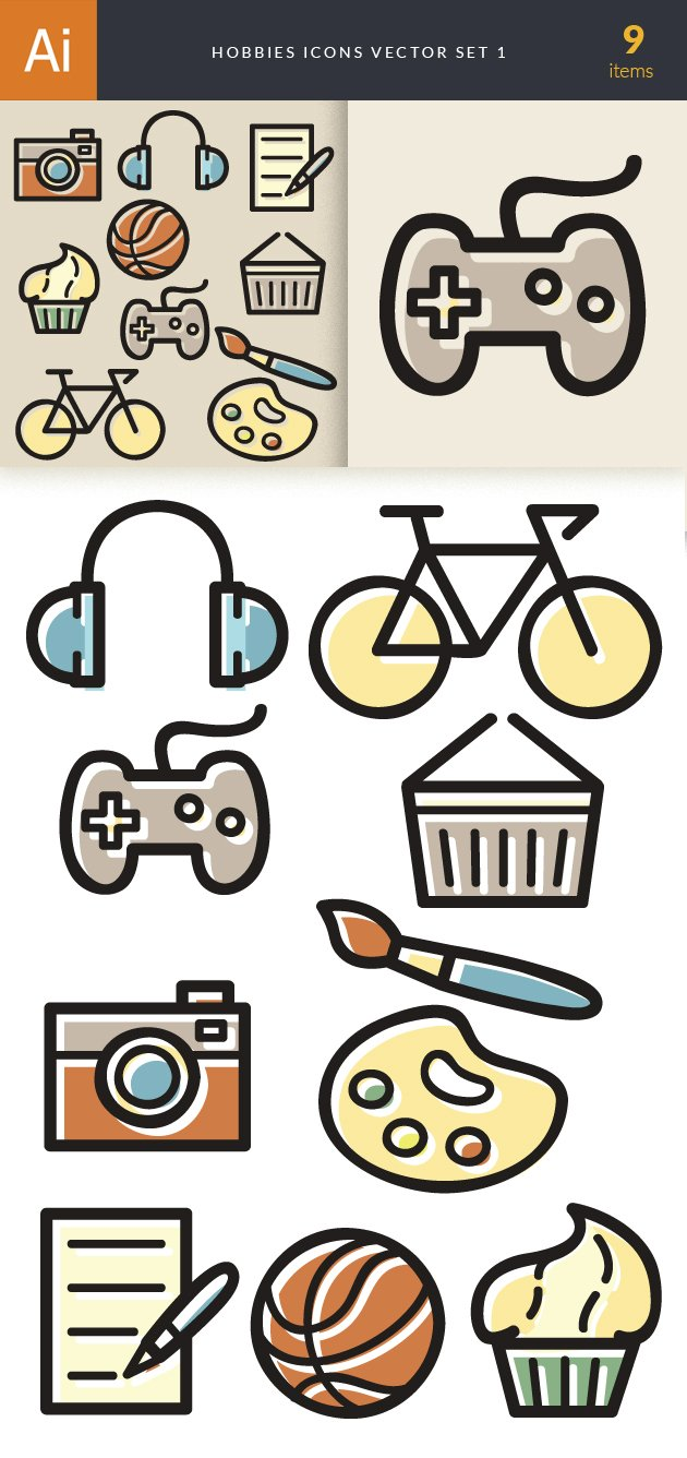 Hobbies Icons Vector Set 1 2