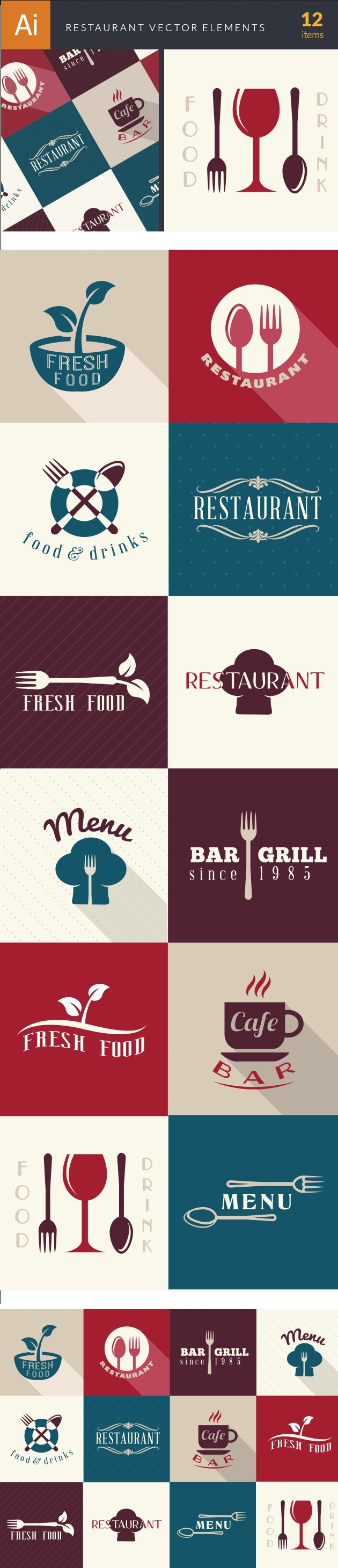 Restaurant Elements Vector 2