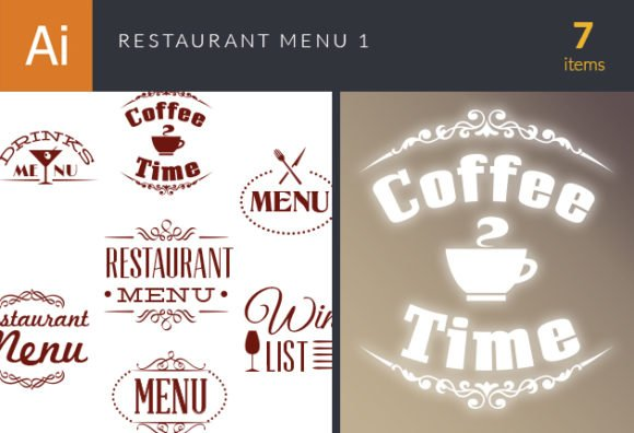 Restaurant Menu Vector Set 1 1