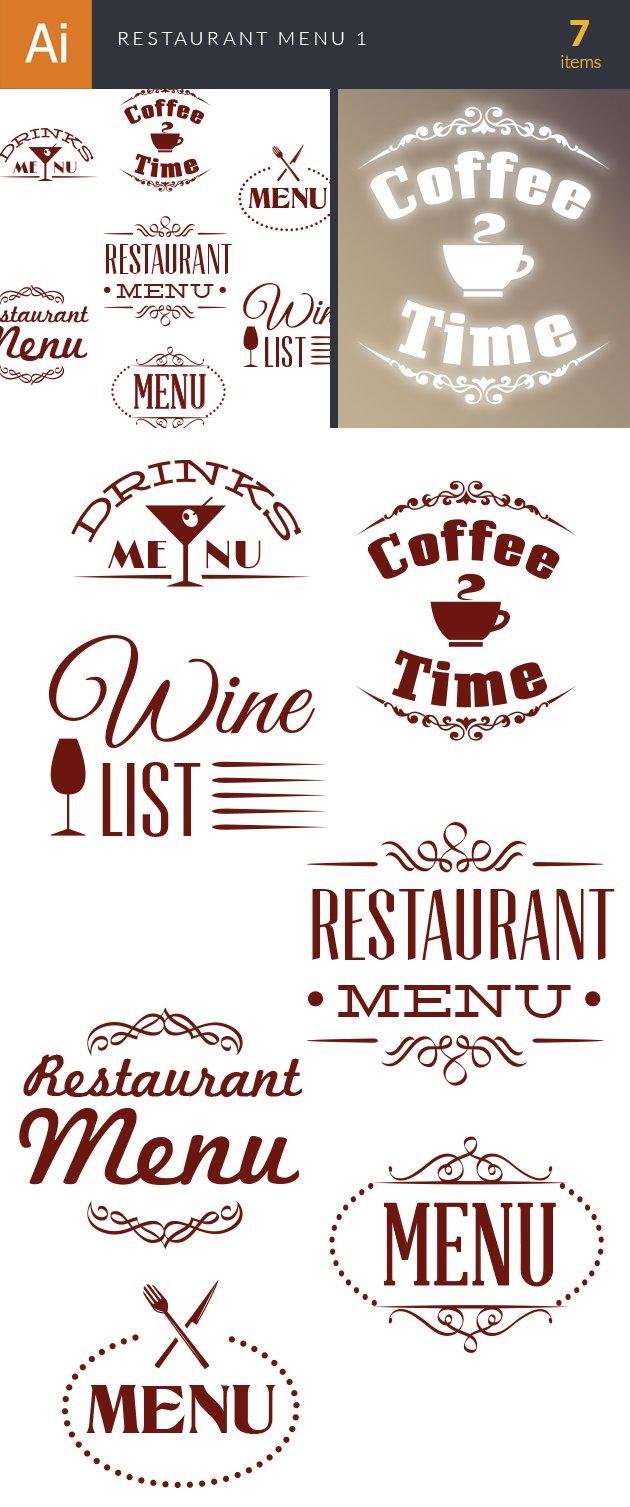 Restaurant Menu Vector Set 1 2