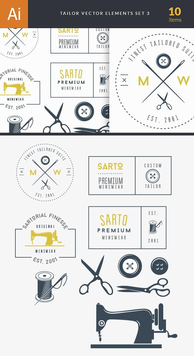 Tailor Labels Vector Set 3 2