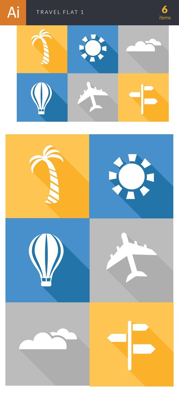 Travel Flat Vector Set 1 2