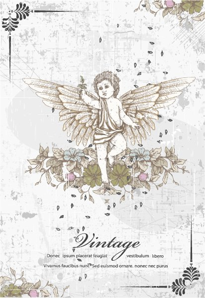 angel with floral vector illustration 1