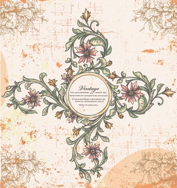 vector vintage frame with floral 1