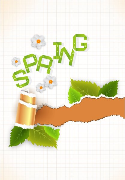 vector spring background with torn cardboard 1
