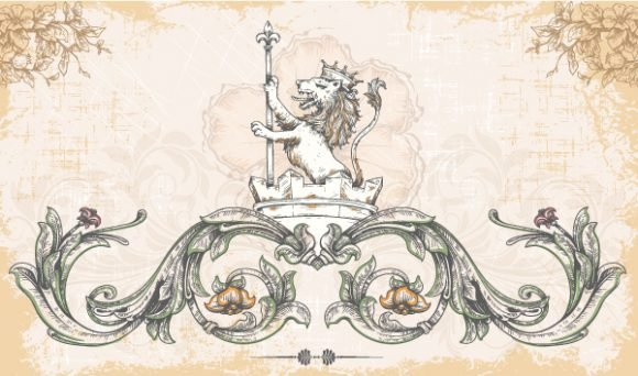 vector vintage background with lion 1