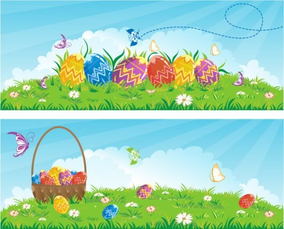 Rays Vector Graphic Vector Easter Banners  Eggs 1