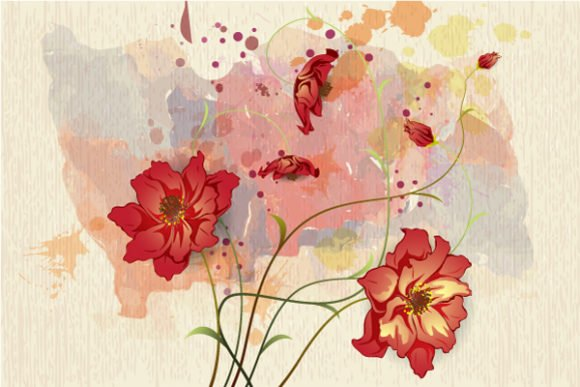 Exciting Floral Vector Graphic: Watercolor Floral Background Vector Graphic Illustration 1