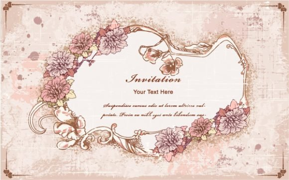 Vintage, Leaf Vector Artwork Vintage Frame  Floral Vector Illustration 1