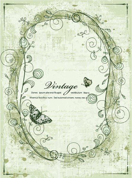 Bold Vintage-2 Vector Background: Vintage Frame With Butterflies Vector Background Illustration 1