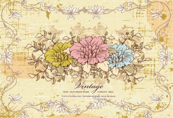 Vintage Vector Graphic Vector Vintage Background  Floral 1