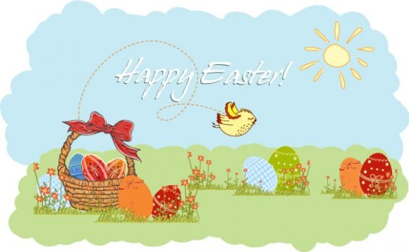 vector easter background with eggs 1