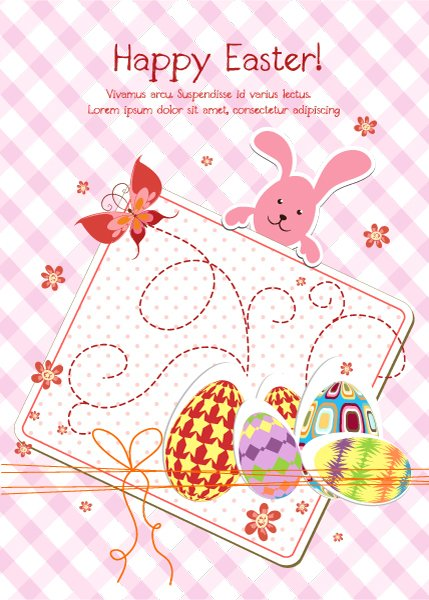 Gorgeous Bunny Vector Background: Eggs With Butterfly Vector Background Illustration 1
