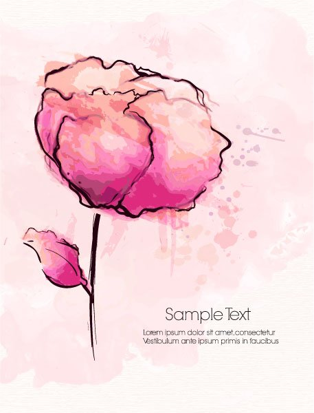 Floral Vector Image: Watercolor Floral Background Vector Image Illustration 1