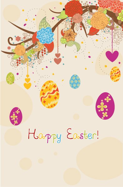 Trendy Easter Vector Image: Easter Background With Eggs Vector Image Illustration 1