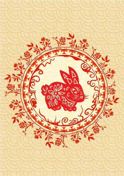 Floral Vector Art Vector Abstract Bunny  Floral 1