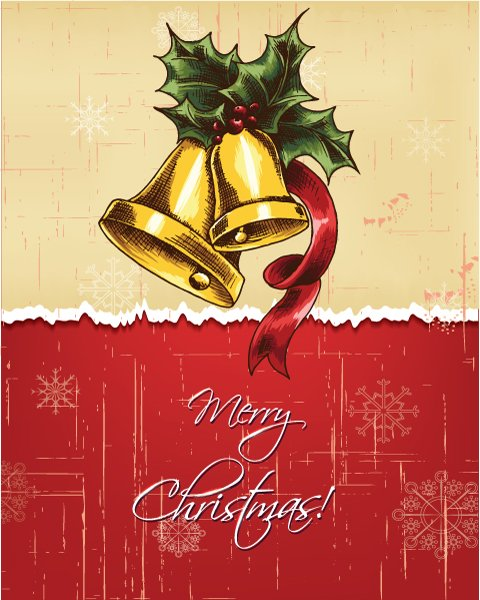 Christmas Vector Background: Christmas Illustration With Bells And Holly Berry 1