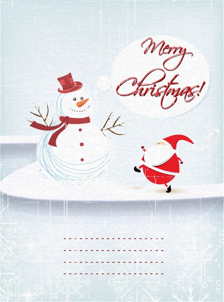 Buy Illustration Vector Graphic: Christmas Illustration With Snow Man And Santa 1