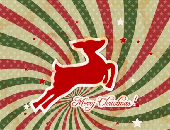 Fir Vector Graphic: Christmas Illustration With Deer 1