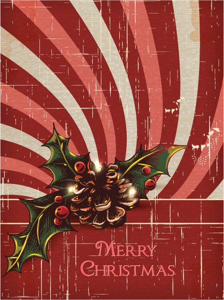 Gorgeous Xmas Vector Design: Christmas Illustration With Pine Cone 1