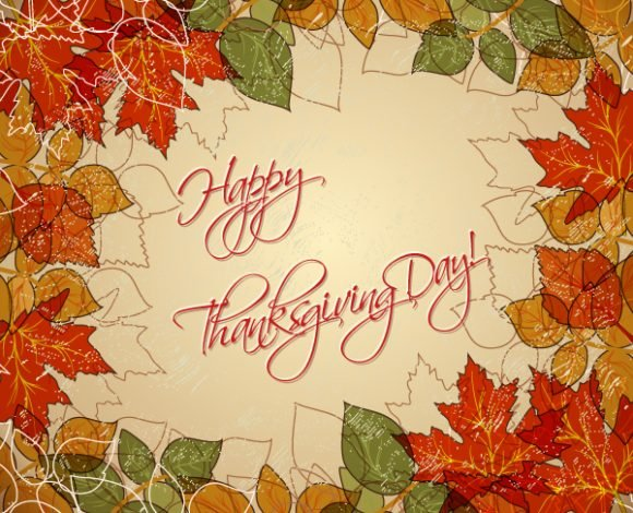 Insane Leaves Vector Graphic: Happy Thanksgiving Day Vector Graphic 1