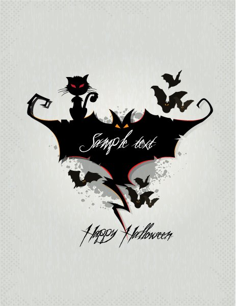 Scary Vector Art: Halloween Background With Bats Vector Art Illustration 1