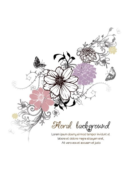 Floral, Flower Vector Design Floral Vector Background  Floral Elements  Butterflies 1