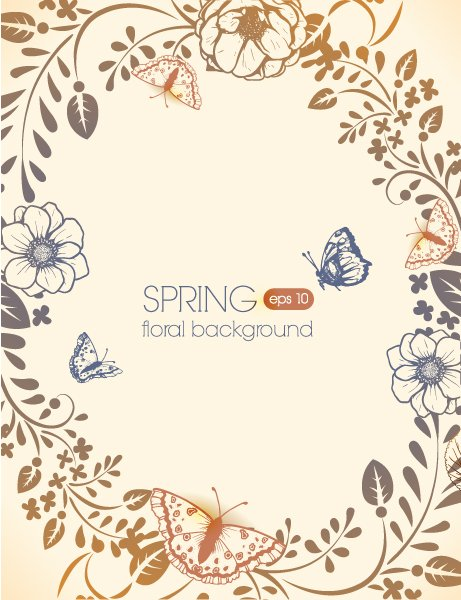 Insane Spring Vector Graphic: Floral Vector Graphic Background With Floral Elements And Butterflies 1