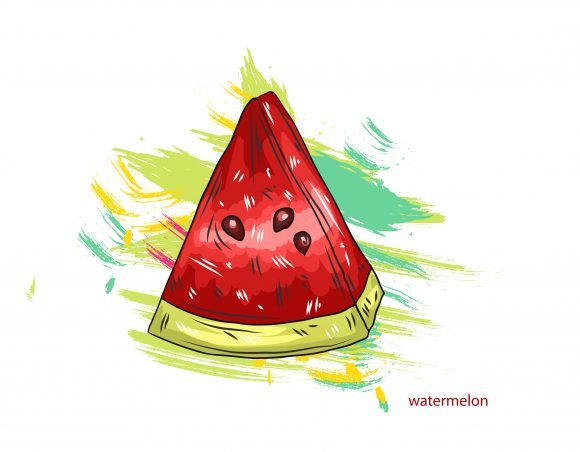 Insane Splashes Vector Art: Vector Art Watermelon With Colorful Splashes 1
