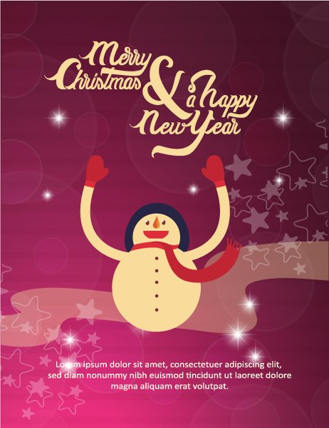 Buy Illustration Eps Vector: Happy New Year  Eps Vector Illustration With Snowman 1