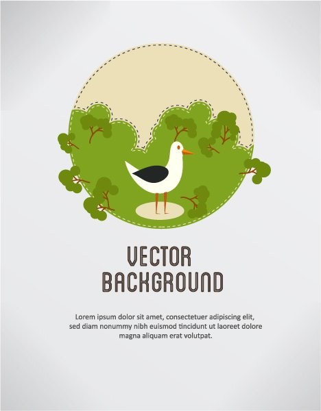 Trees, Illustration Eps Vector Vector Background Illustration  Bird  Trees 1