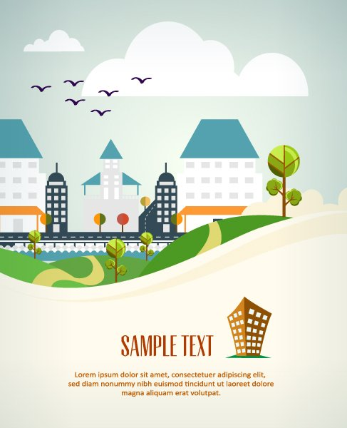 Landscape Vector Illustration Vector Background Illustration  Building Lscape 1