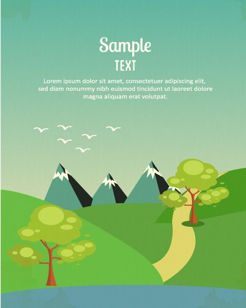 Illustration Vector: Vector Background Illustration With Tree,mountains,clouds And Road 1