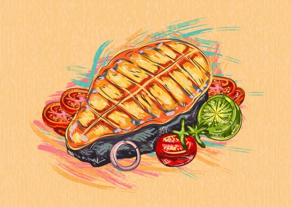 Lovely Cooked Vector: Cooked Fish Vector  Illustration 1