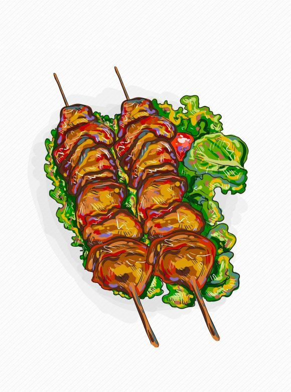 Buy Illustration Vector Design: Vector Design Chicken Shish Kebab Illustration 1