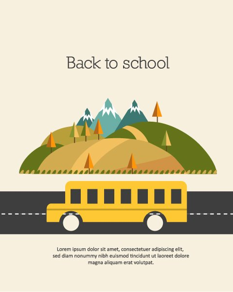 Abstract-2, Illustration, School Vector Design Back To School Vector Illustration  School Bus 1