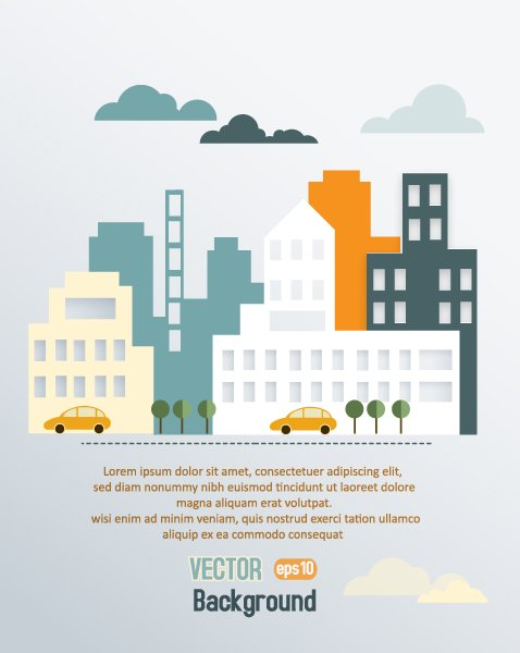 Stunning Urban Vector: 3d Abstract Vector Illustration With Buildings And Clouds And Birds 1